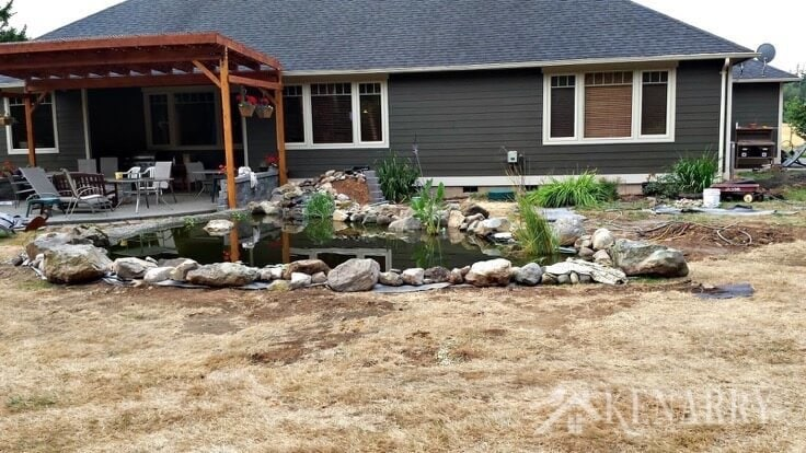 A DIY Pond before the grass grew back