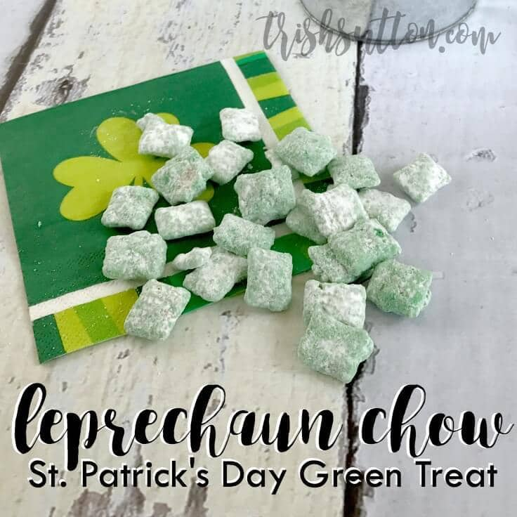 green puppy chow chex mix on a St. Patrick's Day napkin