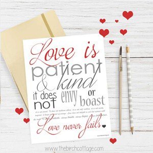 Love Never Fails Print from The Birch Cottage. Print and frame this 8x10 I Corinthians 13 print.