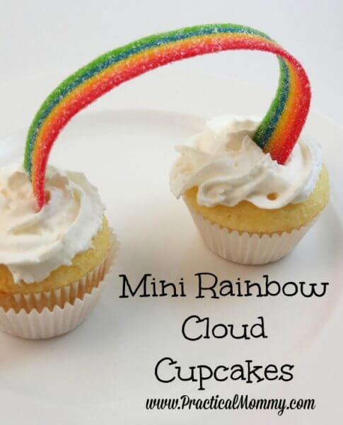 Mini Rainbow Cloud Cupcakes – Practical Mommy - St. Patrick's Day Desserts featured on Kenarry.com