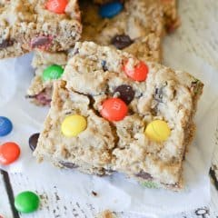 These Monster Cookie Bars are the perfect combination of soft and chewy, plus all of the deliciousness that monster cookies have packed into bite-sized bars.