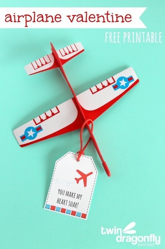 Airplane Valentines with Free Printable – Twin Dragonfly Designs - Free Printable Valentines featured on Kenarry.com