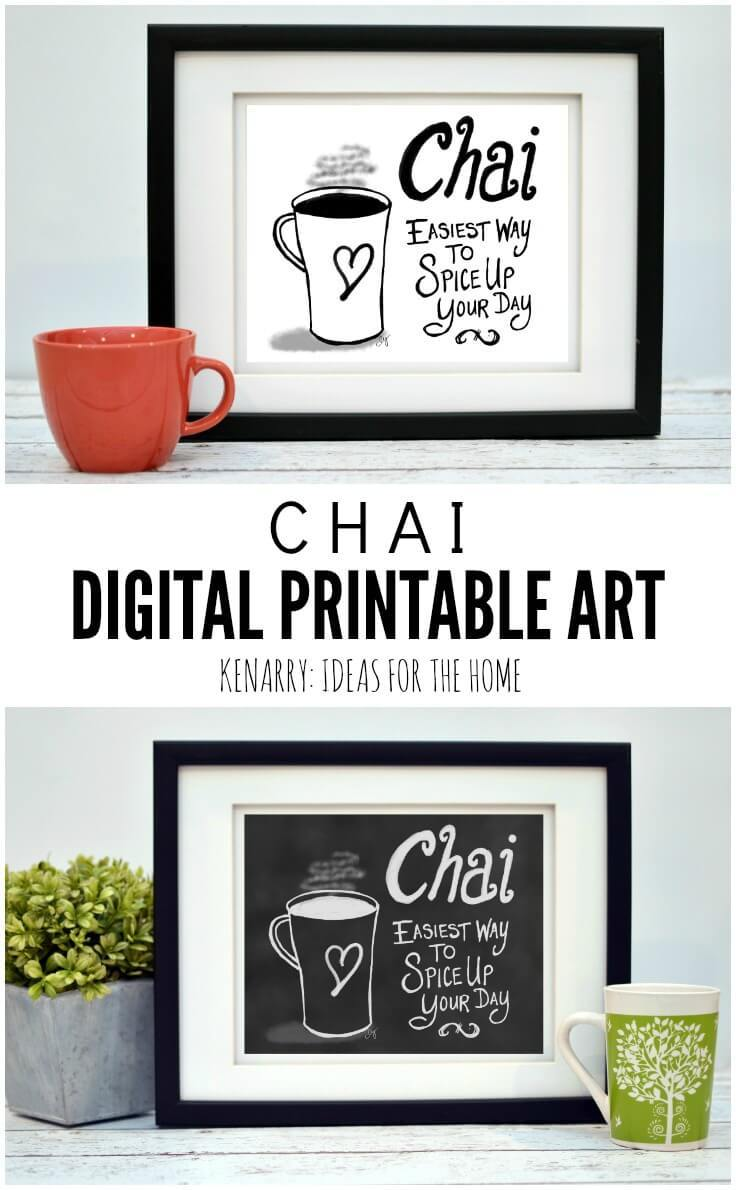 This digital printable chai wall art would look so cute hung as kitchen prints, near a dining room or above a coffee bar to showcase your favorite hot beverage.