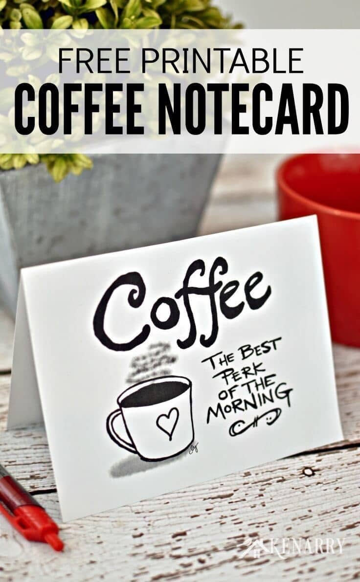 These free printable coffee notecards are so cute! Print a bunch of these blank cards to use as every day stationery or as a birthday, holiday or teacher appreciation gift a coffee lover in your life.