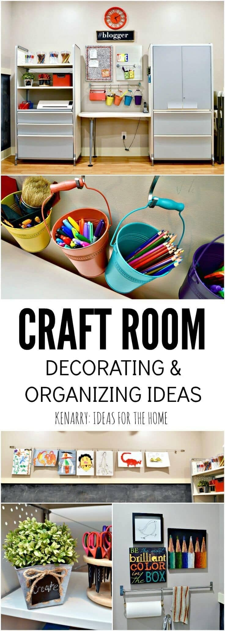 Love this craft room tour! So many colorful decorating ideas and easy organizing ideas that would work great for a kid's art room or a creative home office space.