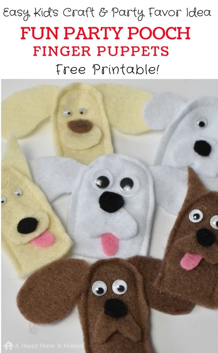 Dog finger puppets: easy craft idea to make with the kids or for dog themed party favors