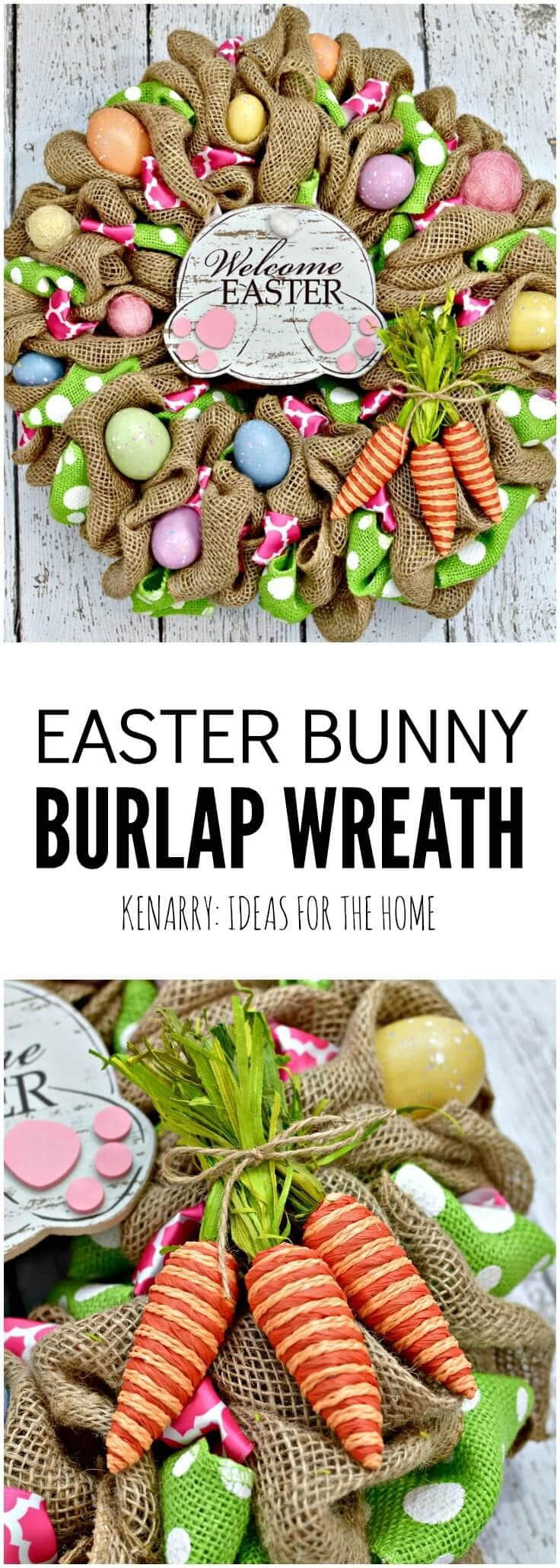 Easter bunny burlap wreath an easy craft idea and tutorial this easter bunny burlap wreath is so cute i especially love the bunny butt negle Image collections