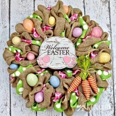 This Easter Bunny Burlap Wreath is so cute! I especially love the bunny butt, carrots and Easter eggs. The craft tutorial and video make it look really easy to make one of these wreaths as home decor or a Easter hostess gift.