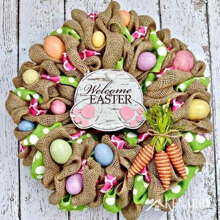 Easter Bunny Burlap Wreath: An Easy Craft Idea