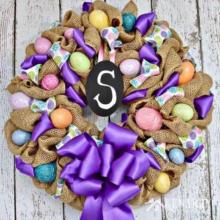 Easter Wreath: An Easy Decor Idea with Burlap Ribbon