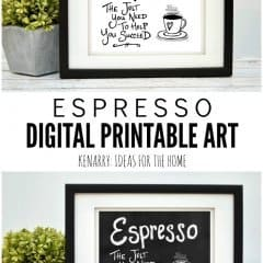 This digital printable espresso wall art would look so cute hung as kitchen prints, near a dining room or above a coffee bar to showcase your favorite hot beverage.