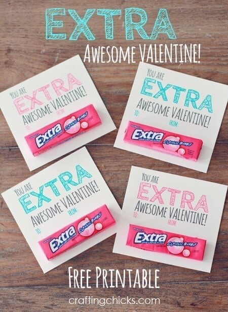 """Extra"" Awesome Valentine – The Crafting Chicks - Free Printable Valentines featured on Kenarry.com"