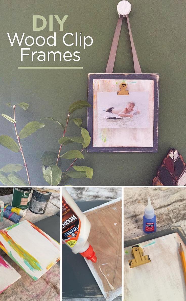 DIY Wood Clip Frames to Display Photos: An Easy Home Decor Idea
