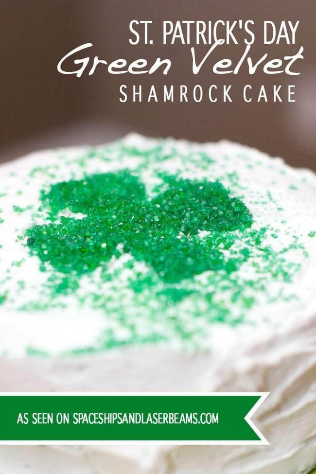 St. Patrick's Day Cake: Green Velvet – Spaceships and Laserbeams - St. Patrick's Day Desserts featured on Kenarry.com