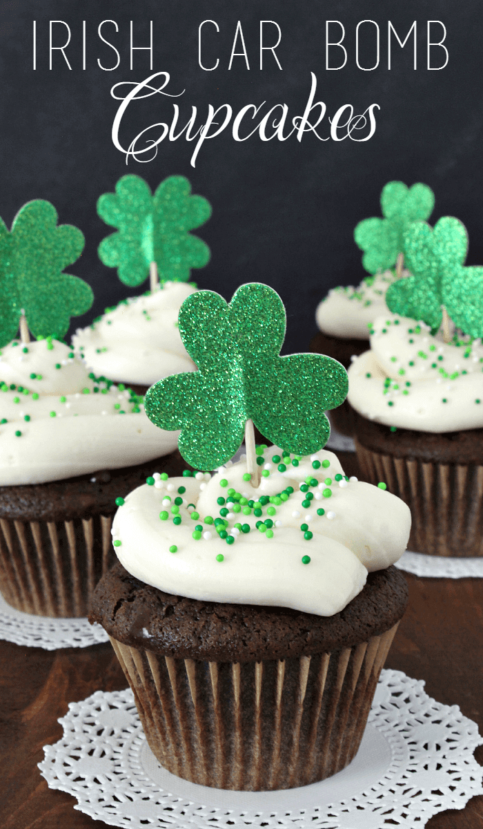 Irish Car Bomb Cupcakes Recipe From Scratch – Budget Girl on Growing Up Gabel - St. Patrick's Day Desserts featured on Kenarry.com