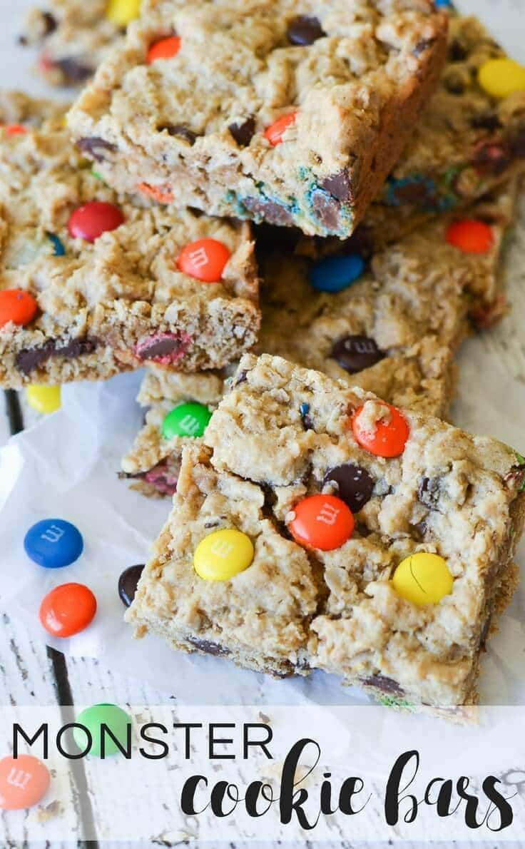Monster Cookie Bars are an easy to make recipe with the perfect combination of soft and chewy packed into bite-sized bars.