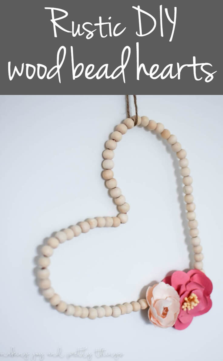 Learn how to make rustic DIY wood bead hearts to add the perfect farmhouse style touch to your nursery