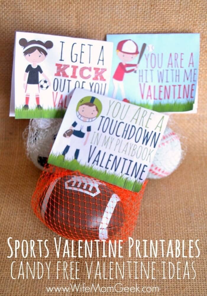 Sports Valentines Printables – Glue Sticks & Gumdrops - Free Printable Valentines featured on Kenarry.com