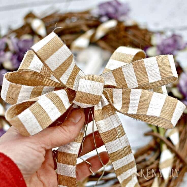 A burlap bow for the wreath