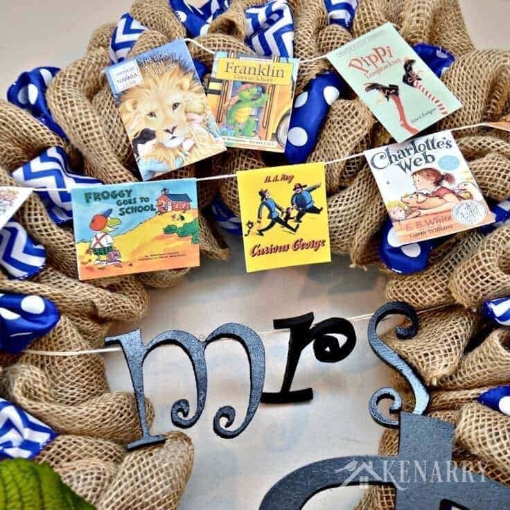 A Teacher Appreciation Burlap Wreath is an easy craft idea to make for thank hard working educators for back to school, end of school or Christmas. This decor is fun to make and perfect for teachers, librarians and book lovers.