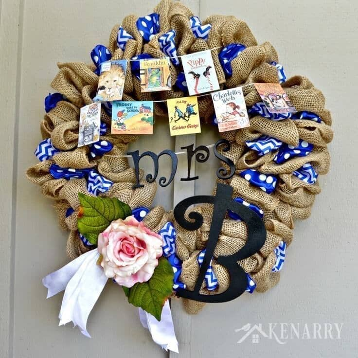 Classroom Wreath Ideas : Teacher appreciation burlap wreath a rustic gift idea