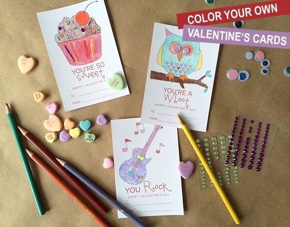 Color Your Own Valentine's Cards – Greco Design Company - Free Printable Valentines featured on Kenarry.com