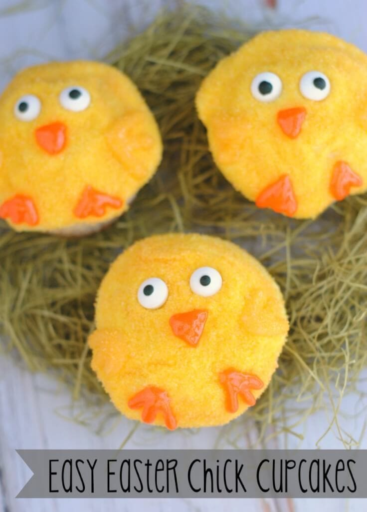 Easy Easter Chick Cupcakes - {Not Quite} Susie Homemaker - Easter Desserts featured on Kenarry.com