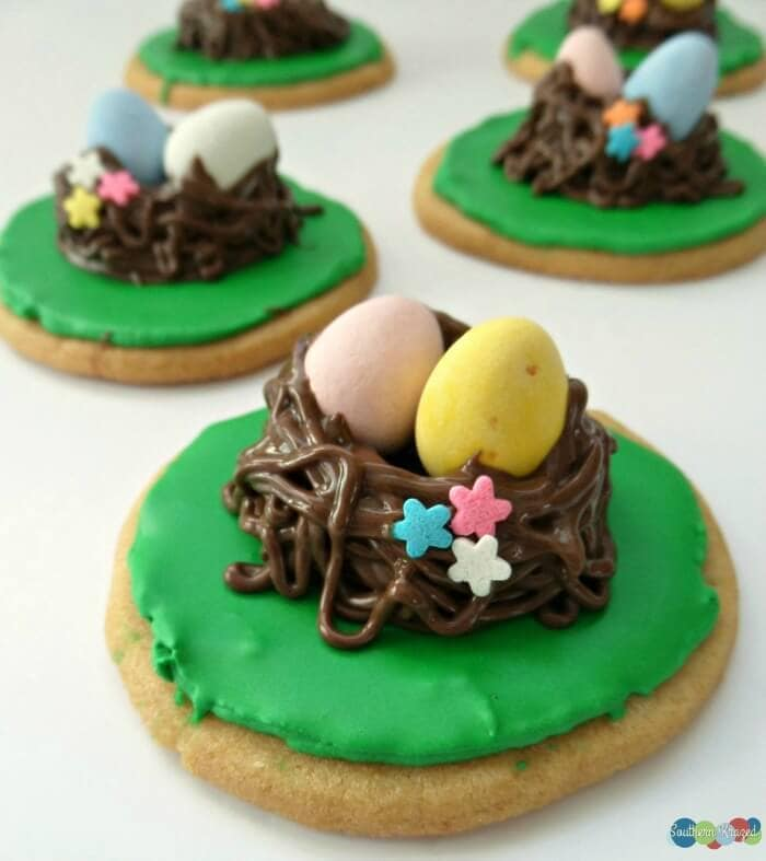Easy Springtime 'Bird's Nest Cookies - Southern Krazed - Easter Desserts featured on Kenarry.com