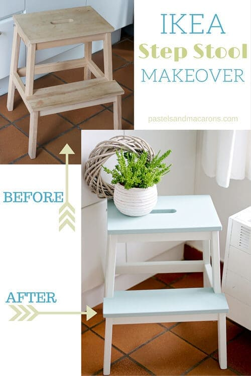 Ikea Step Stool Makeover by Pastels and Macarons