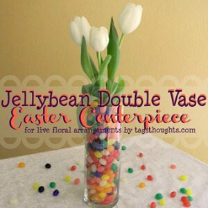 Jellybean Double Vase Easter Centerpiece; TrishSutton.com