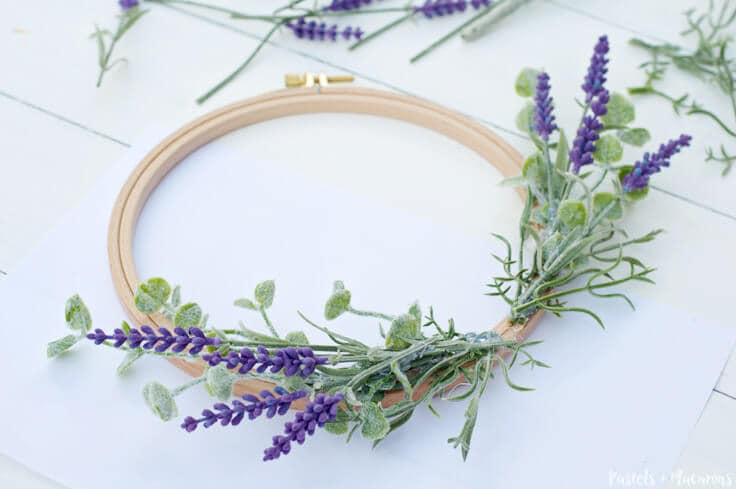 Lavender DIY Embroidery Hoop Spring Wreath