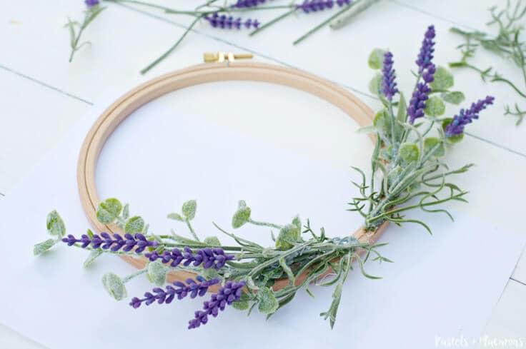 Lavender DIY Embroidery Hoop Spring Wreath