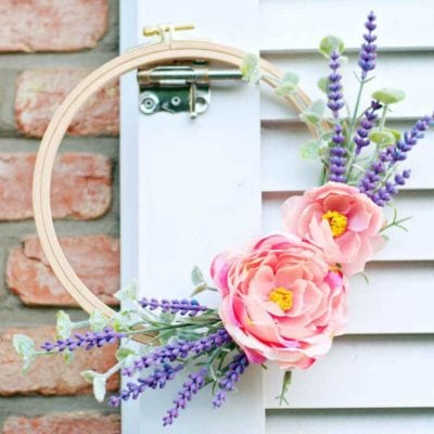 Make a DIY Embroidery Hoop Spring Wreath from Lavender