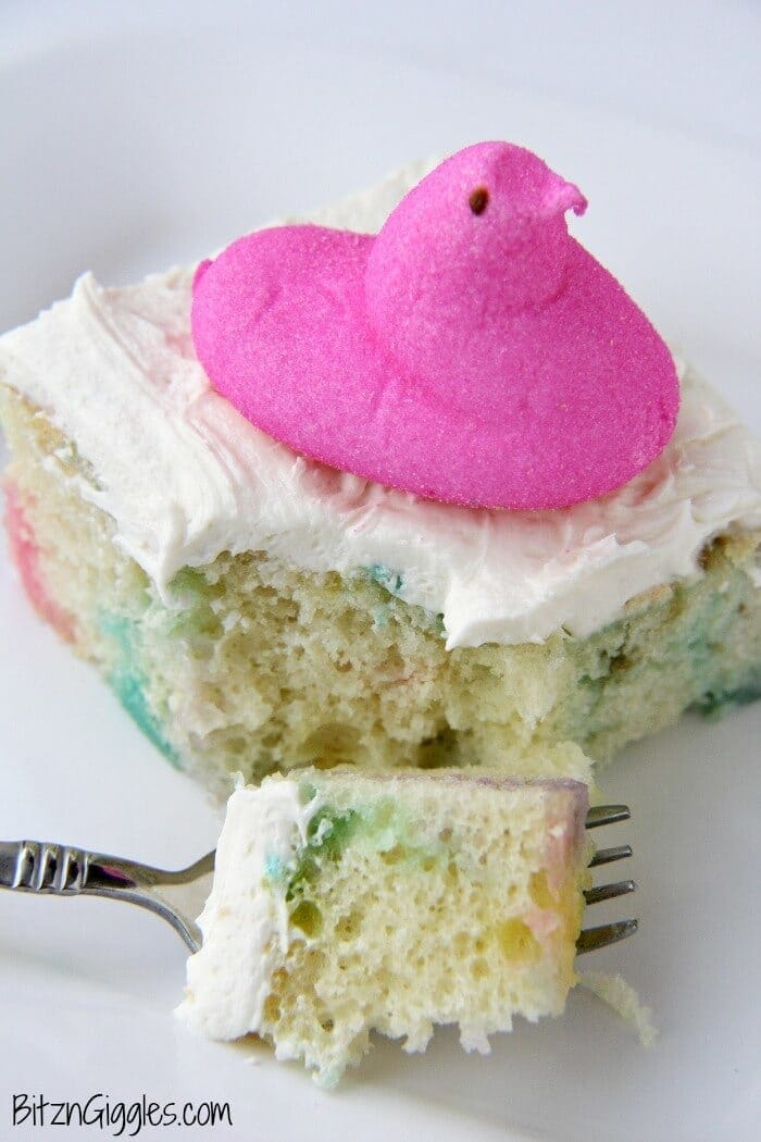 Peeps Cake with Marshmallow Frosting - Bitz and Giggles featured on Kenarry.com