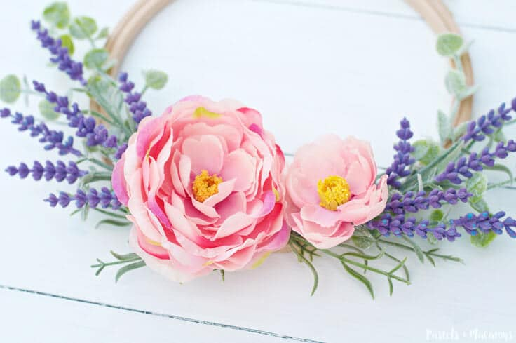 Pretty and floral Embroidery Hoop Spring Wreath Craft
