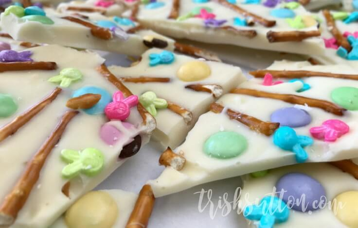 pretzel almond bark, decorated with Easter m&ms and sprinkles