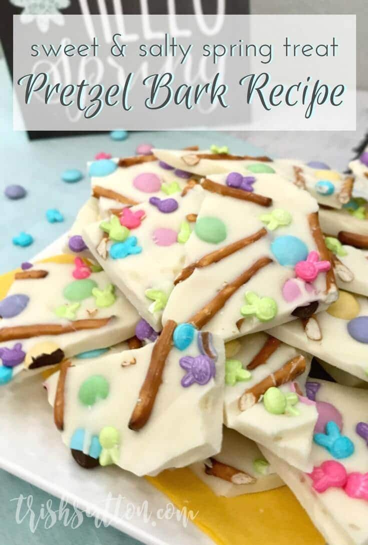 Festive colors, salty pretzels, vanilla, white chocolate and milk chocolate candies make this simple Spring Treat: Easter Pretzel Bark Recipe.