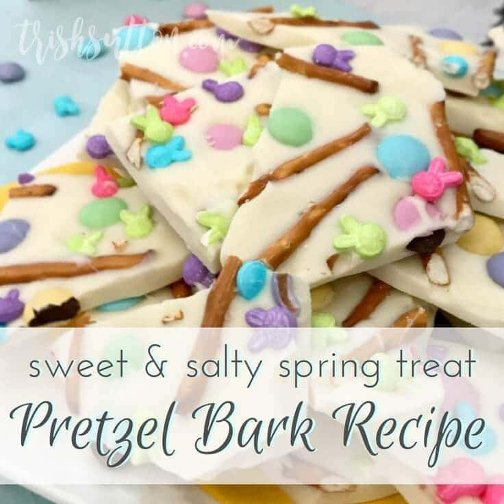 pretzel almond bark in a pile, decorated with Easter m&ms and sprinkles