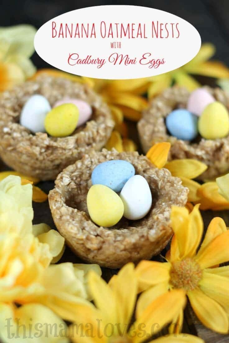 Banana Oatmeal Nests Recipe - This Mama Loves - Easter Desserts featured on Kenarry.com