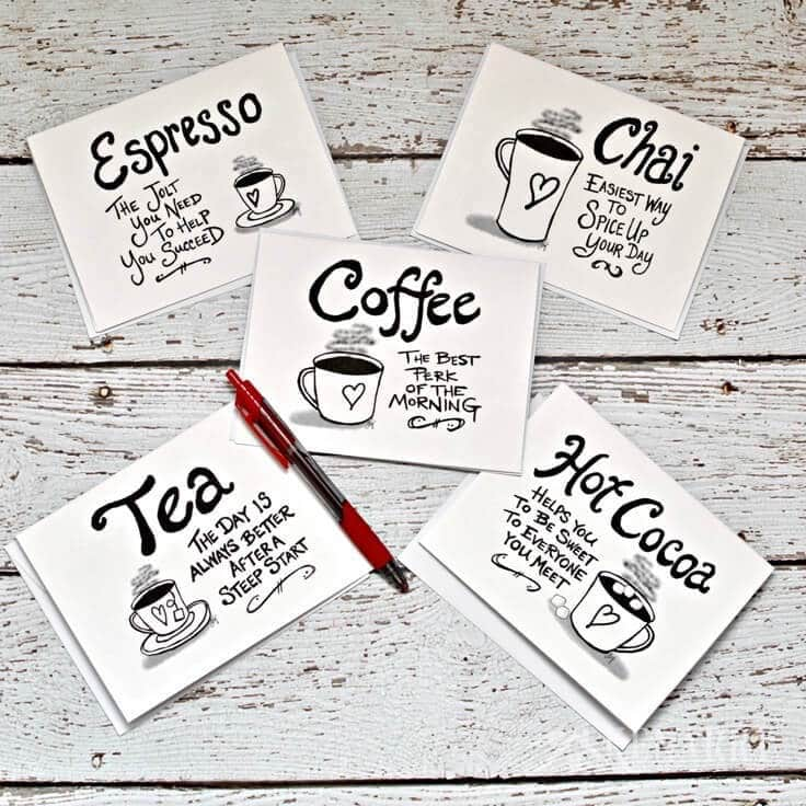 photo about Printable Blank Note Cards named Espresso Be aware Playing cards: Electronic Printable Stationery Sets