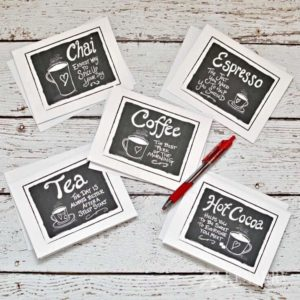Coffee Note Cards: Digital Printable Stationery Sets