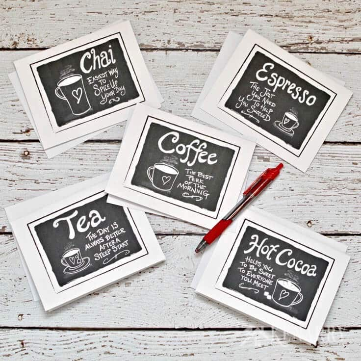 picture about Printable Blank Note Cards called Espresso Observe Playing cards: Electronic Printable Stationery Sets