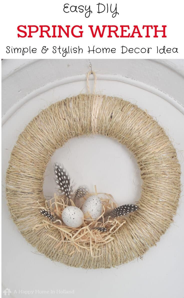 Easy spring grass wreath for front door decorating.