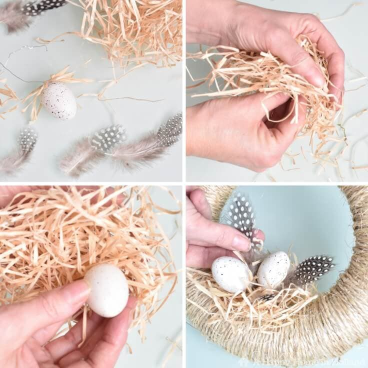 Adding straw and faux eggs to the spring wreath
