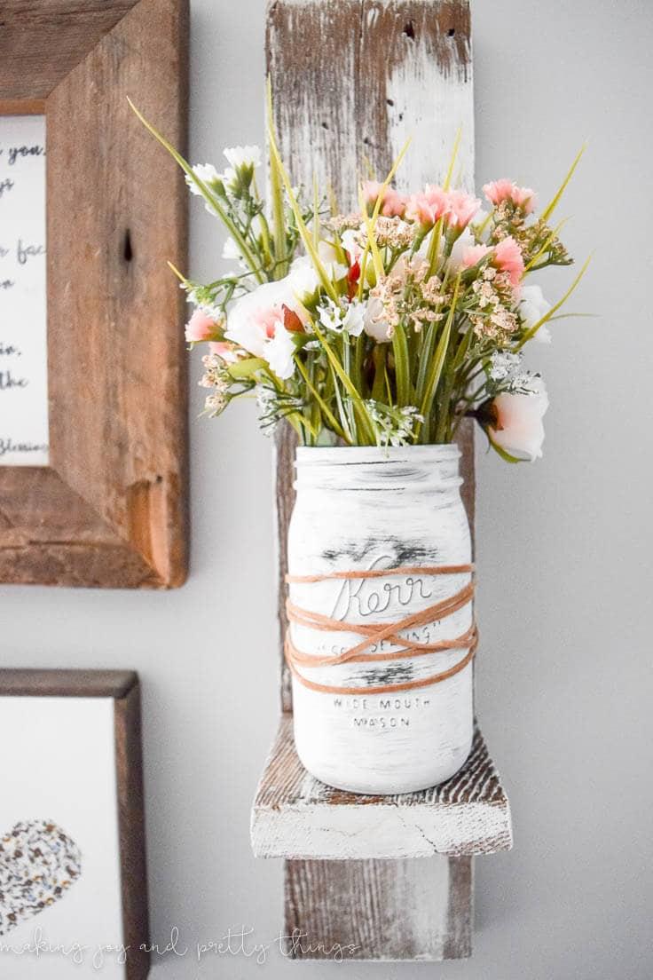 Farmhouse Spring Mason Jar Planter: Easy DIY Home Decor Idea