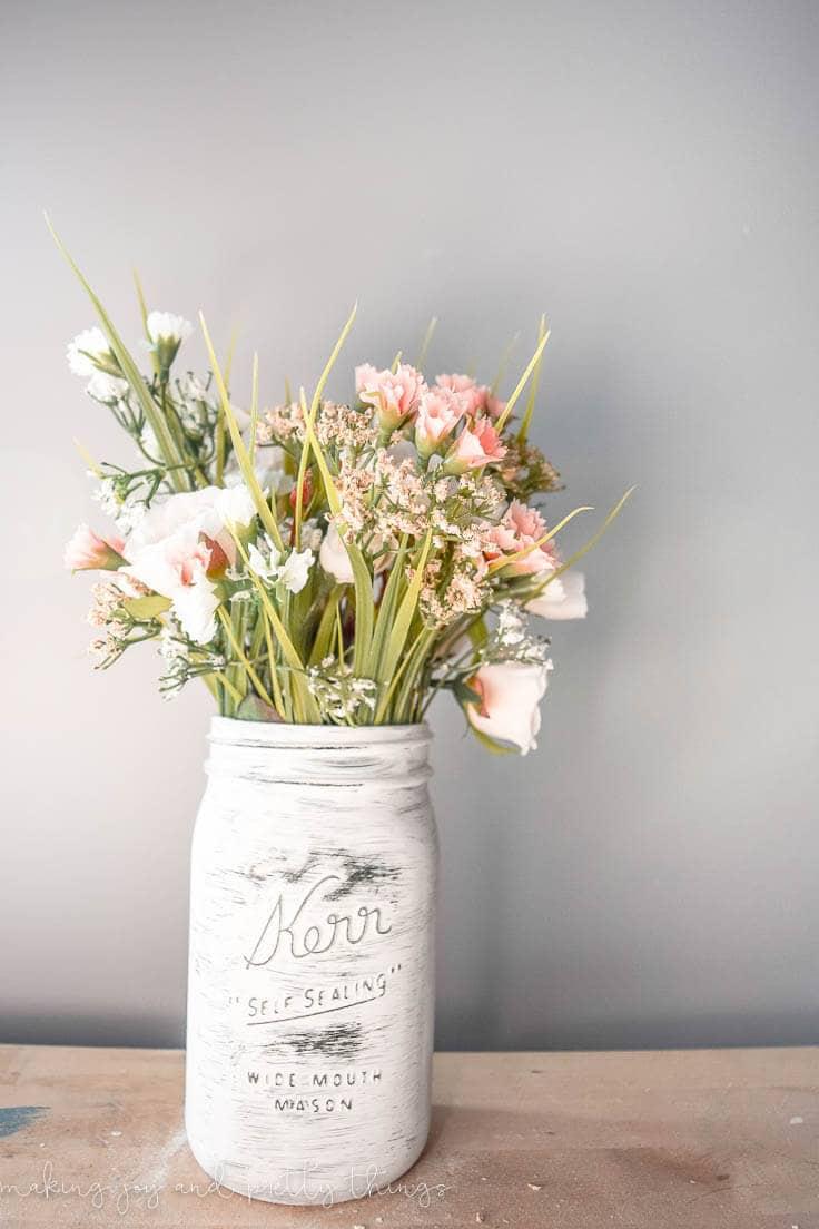 Farmhouse Spring Mason Jar Planter Easy Diy Home Decor Idea