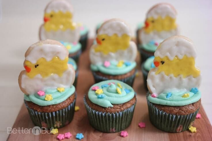 Light Carrot Cake Cupcakes {With Hatching Chick Cookies} - Food Fun Family - Easter Desserts featured on Kenarry.com