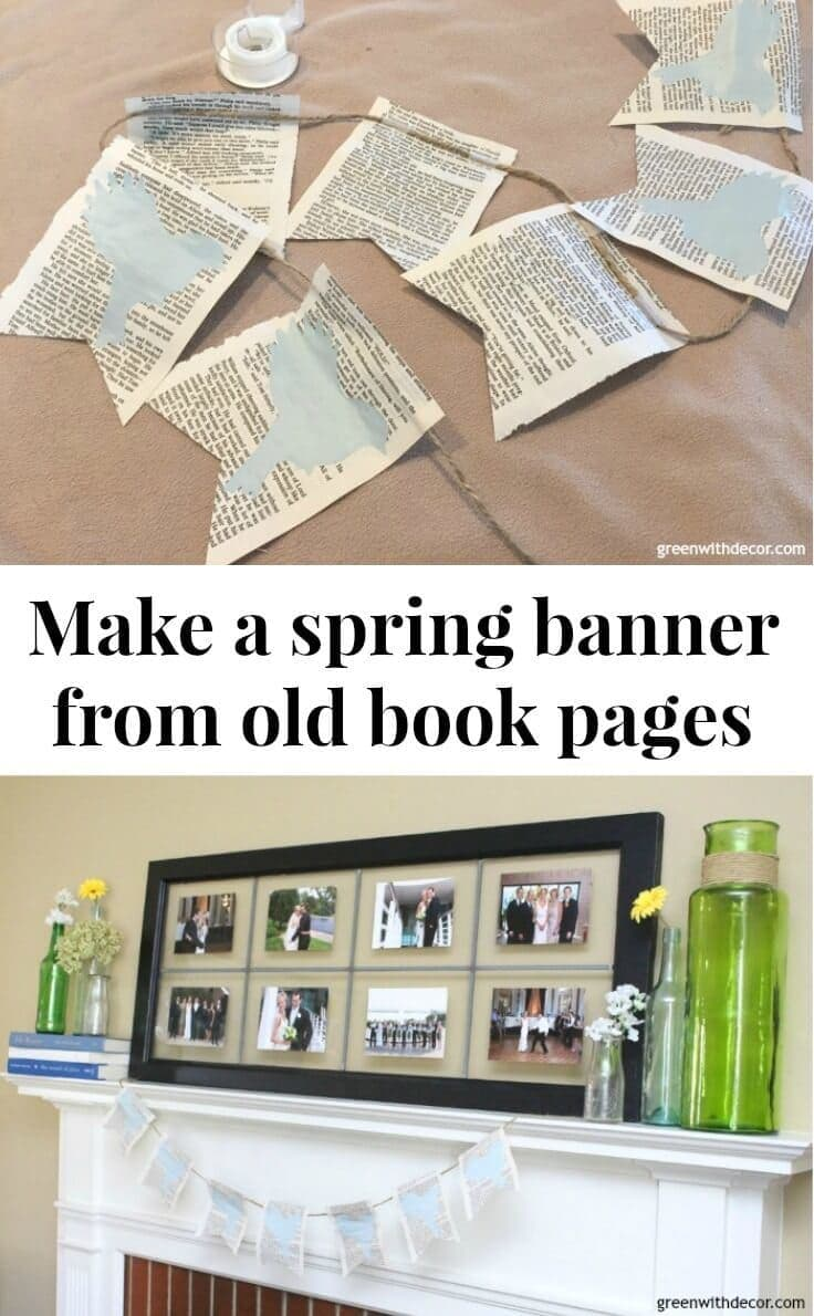 How to make a spring banner from old book pages