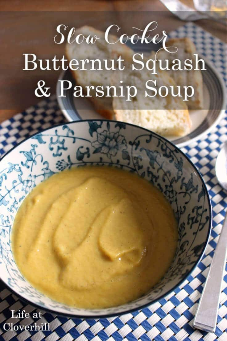 Slow cooker butternut squash and parsnip soup