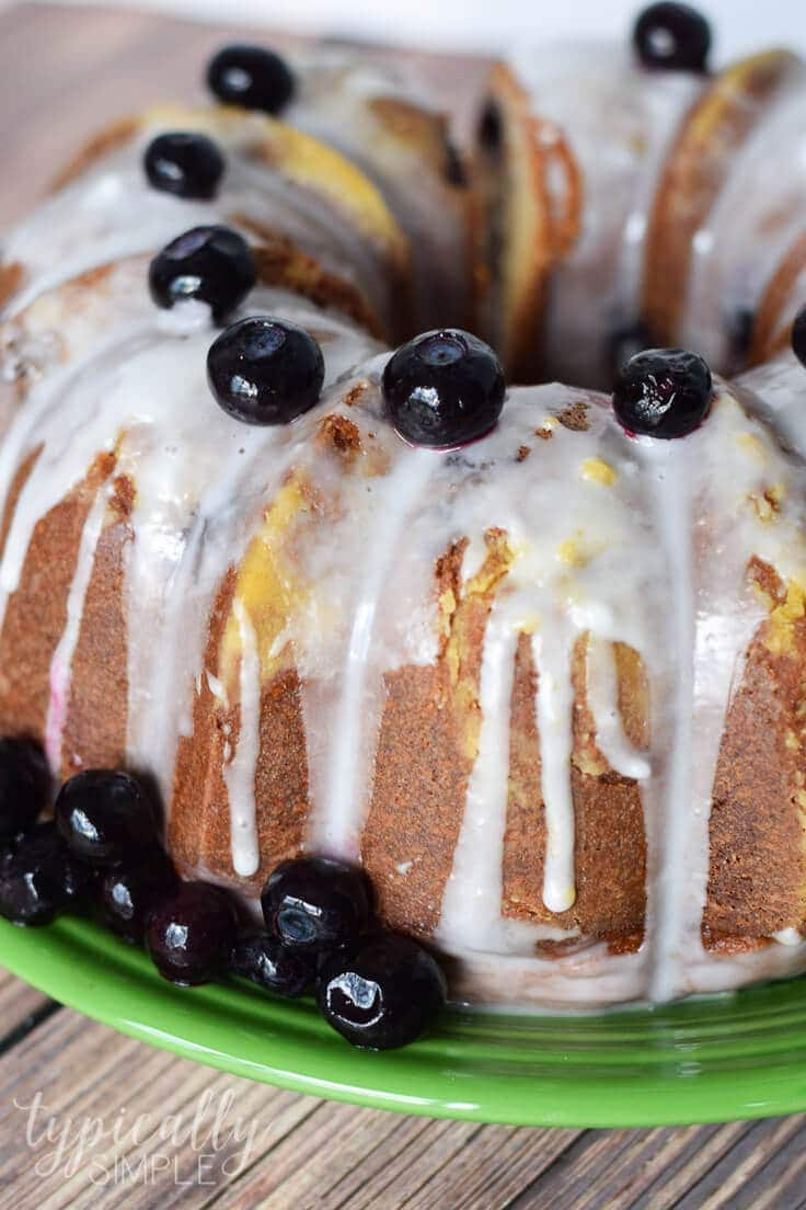 This lemon blueberry pound cake recipe is packed full of yummy blueberries! And it has just a hint of lemon which makes it a refreshing dessert for summer!
